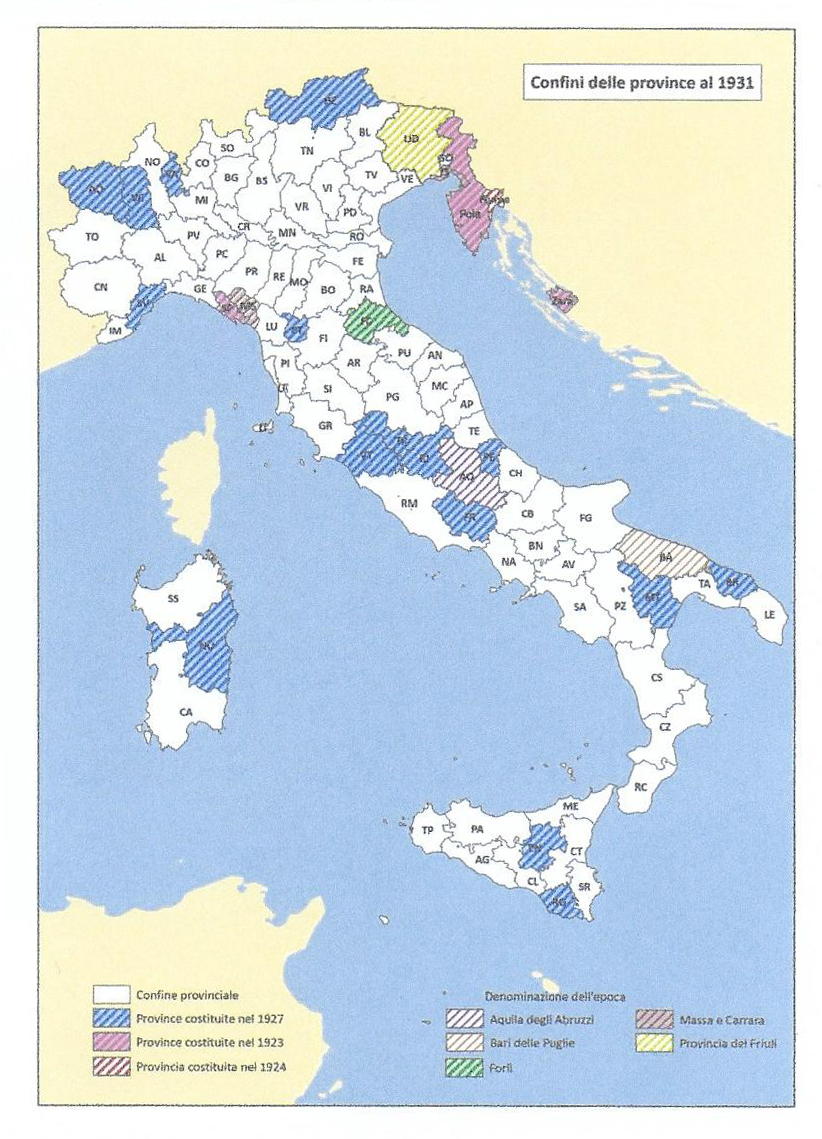 Map of Italy in 1931 under Fascist rule