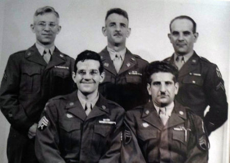The sons of Attilio Contini photographed in 1946 when the all finally returned from World War II. Seated from left to right are Tech 4 James A. Contini and Staff Sergeant Victor M. Contini. Standing are Corporal Aniello E. Contini, Tech 4 Orazio Contini and Corporal Cesare A. Contini.