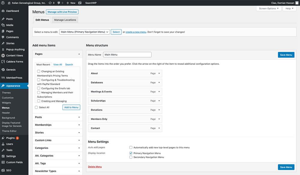 WordPress menu system