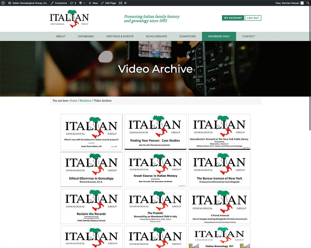 The video archive page